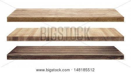 Rustic wood shelves isolated on white
