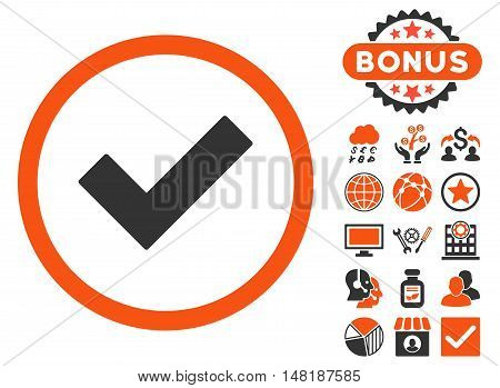 Accept icon with bonus pictogram. Vector illustration style is flat iconic bicolor symbols, orange and gray colors, white background.