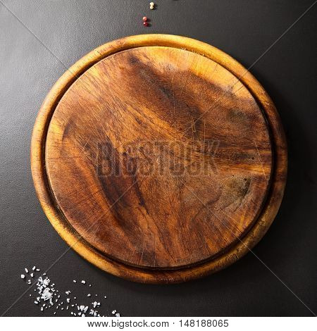 Wooden Dish on Black Background