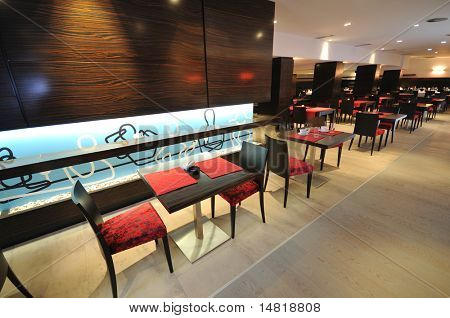coffee restaurant indoor with luxury wooden furniture