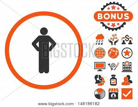 Akimbo icon with bonus pictogram. Vector illustration style is flat iconic bicolor symbols, orange and gray colors, white background.