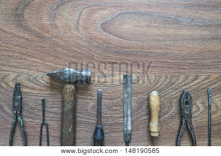 Vintage Tools On Wooden Background