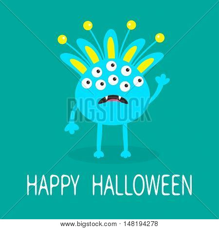 Happy Halloween greeting card. Blue monster with ears fang tooth. Funny Cute cartoon character. Baby collection. Flat design. Green background. Vector illustration