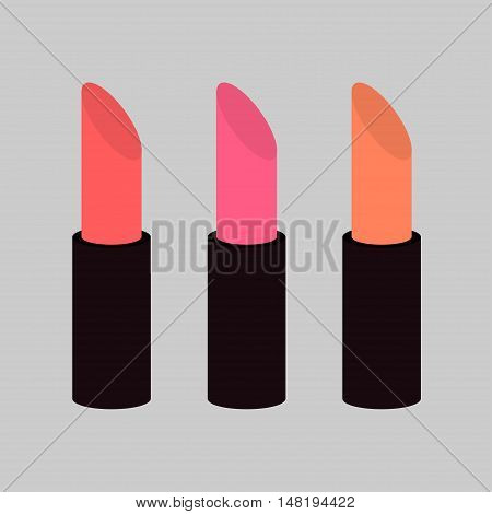 Pink nude lipstick set on gray background Isolated Template Flat design Vector illustration