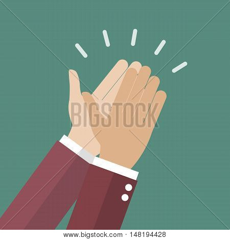 Businessman hands clapping. vector illustration cartoon concept