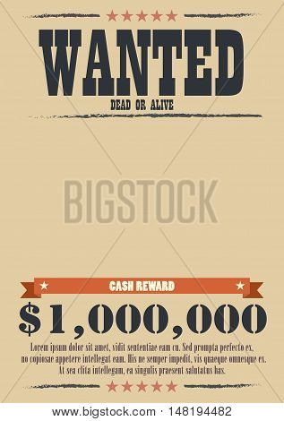 Wanted Vintage Poster. western style vector illustration
