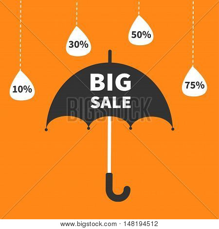 Monsoon season offer. Black umbrella. Hanging dash line raining drops. 10 30 50 75 persent off. Big sale banner poster Flat design. Orange background. Vector illustration