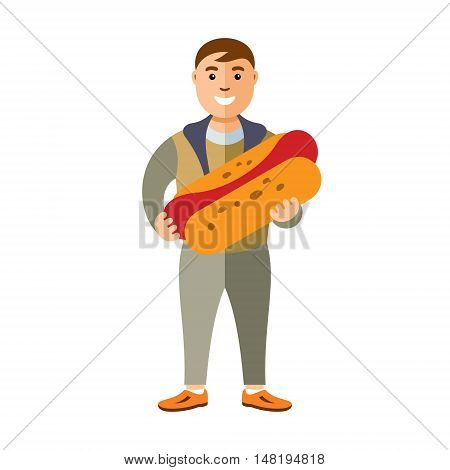 Handsome young boy wanted to taste sausage dough. Isolated on a white background