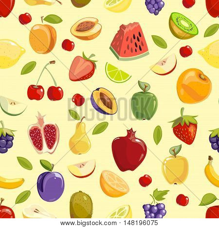 Miscellaneous vector colored fruits seamless pattern background. Vector illustration