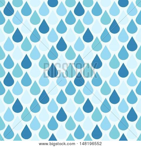 Blue vector water drops seamless pattern. Background wet droplet illustration
