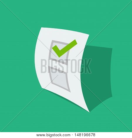 Paper sheet with poll result check mark vector illustration, concept of questionnaire checklist, survey list icon, voting form with checkbox, election document isolated flat design