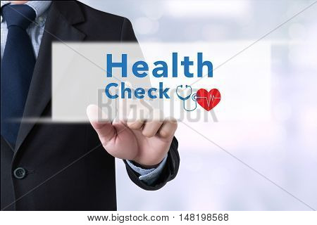 Businessman Touching Health Check  On Touch Screen