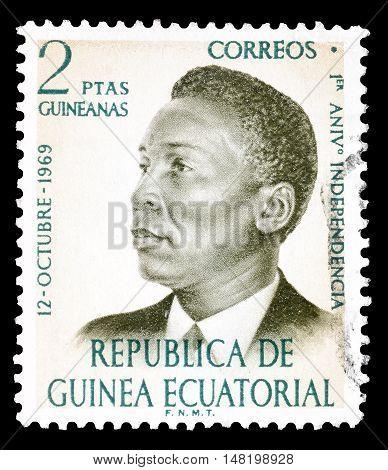 EQUATORIAL - GUINEA - CIRCA 1970 : Cancelled postage stamp printed by Equatorial Guinea, that shows President Francisco Macias Nguema.