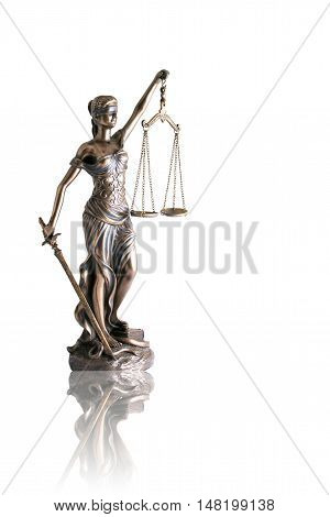 Lady justice or Themis with reflection isolated on white background