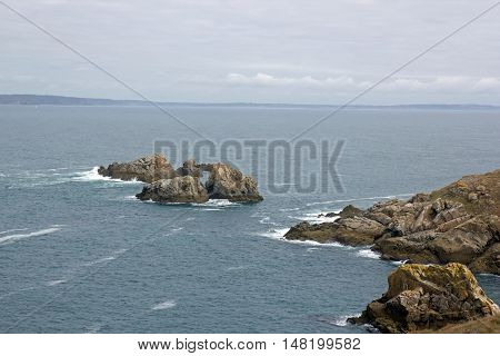 Cap Sizun, rocks and small waves, with a day of quiet time (Brittany, Finistere, France)