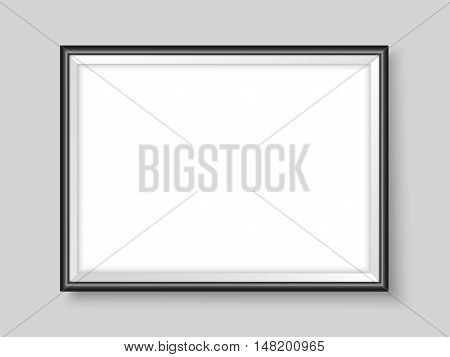 Frame on the wall. Photoframe mock up. Vector empty blue frame for your design. Template for horizontal picture painting poster or photo.