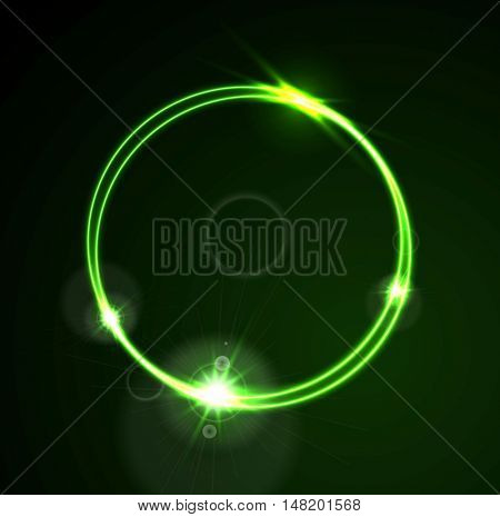 Glow green neon bright ring shiny background. Energy effect logo vector template design