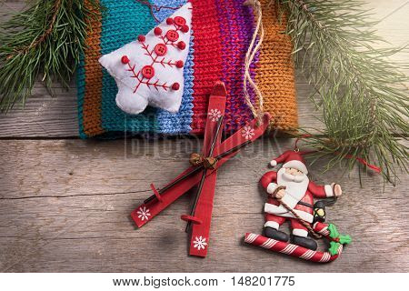 Christmas tree decoration santa wooden texture background woolen warm wear new year