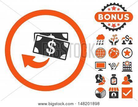 Cashback icon with bonus design elements. Vector illustration style is flat iconic bicolor symbols, orange and gray colors, white background.
