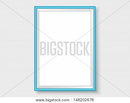 Frame on the wall. Photoframe mock up. Vector empty blue frame for your design. Template for vectical picture painting poster or photo.