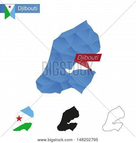 Djibouti Blue Low Poly Map With Capital Djibouti.