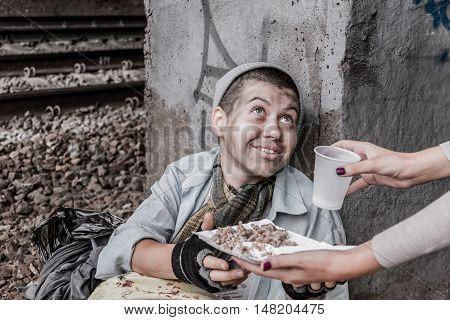 Homeless Woman Getting Help