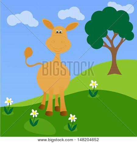 Cartoon donkey. Funny little donkey on flower field. Cute donkey with flowers.