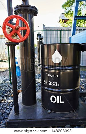 Barrel Of Oil And Pipe With Crane