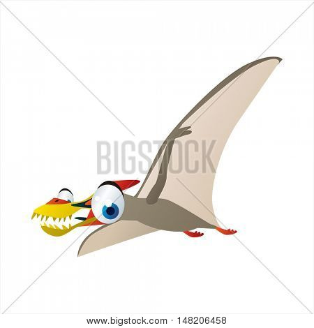 vector funny image of cute bright color animal. Ancient prehistoric reptiles.