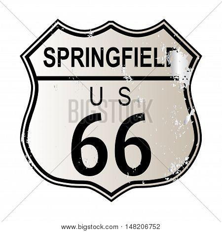 Springfield Route 66 traffic sign over a white background and the legend ROUTE US 66