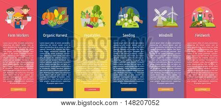 Farm and Ranch Vertical Banner Concept | Set of great vertical banner flat design illustration concepts for Farm, Ranch, harvest, agriculture and much more.