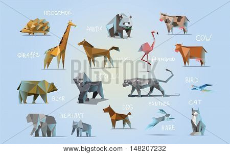 Vector set of different animals, polygonal icons, low poly illustration, cow, bear, dog, cat, elephant, giraffe, panther, flamingo, bird, hedgehog, gorilla, rabbit, horse, modern style, panda