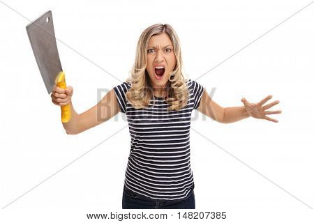 Angry woman holding a cleaver and yelling isolated on white background