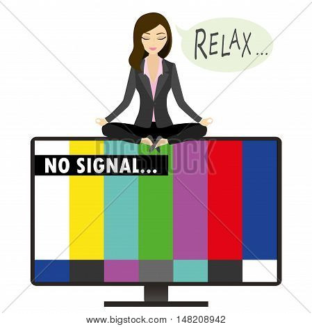 On the TV screen- no signal woman sitting in the lotus position relaxes and meditates vector illustration