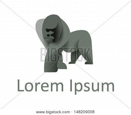 Vector illustration of gorilla, modern animal logotype concept