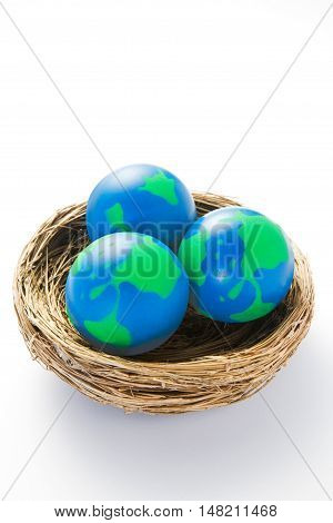Environmental Concept Shot With Model Globes In Nest