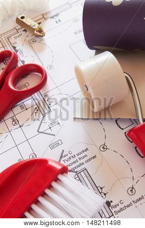 Selection Of Wallpaper Hanging Tools On House Plans