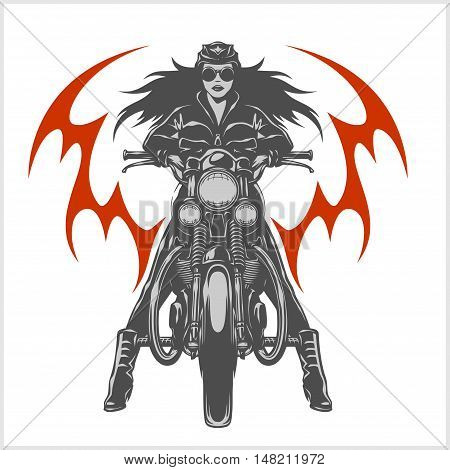Vintage motorcycle garage motor club emblem with sexy girl on white background.