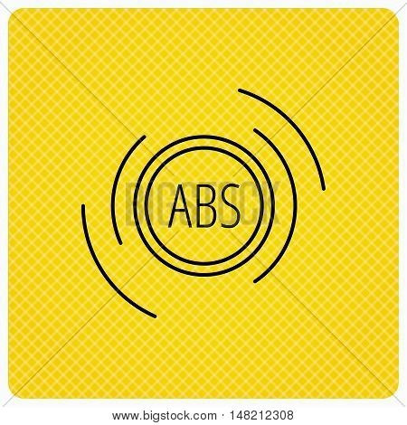 ABS icon. Brakes antilock system sign. Linear icon on orange background. Vector