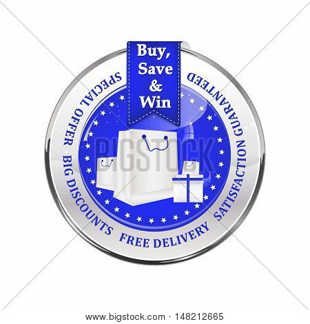 Winter sales stamp with shopping bags. Big winter sales stamp with a ribbon and a shiny blue icon: special offer, free delivery, satisfaction guaranteed