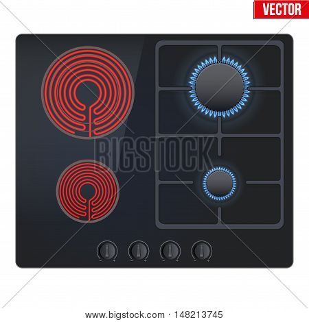 Combined stove gas and electric is on and with flame. Top view of dual combo stove. Domestic equipment. Editable Vector illustration Isolated on white background.