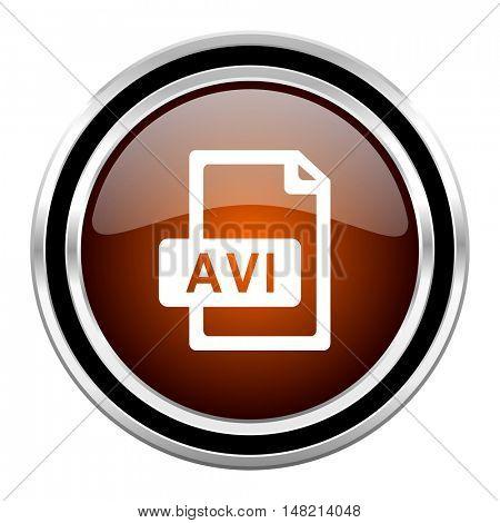 avi file round circle glossy metallic chrome web icon isolated on white background