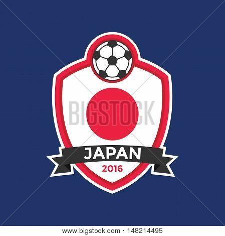 Japan soccer team with flag. vector illustration