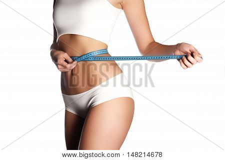 Measure On Woman Body On White Background. Fashion Photo Of Sexy