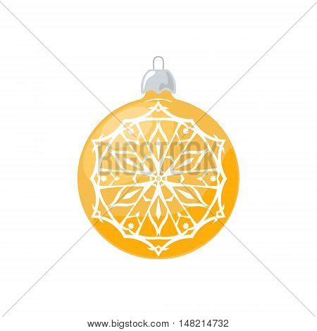 Yellow Ball with Snowflake Isolated on White Background ,Christmas Tree Decoration, Merry Christmas and Happy New Year, Vector Illustration