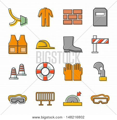 Labor protection, contour icons, colored. Vector flat icons with protective clothing and items of human security. Color linear image on a white background.