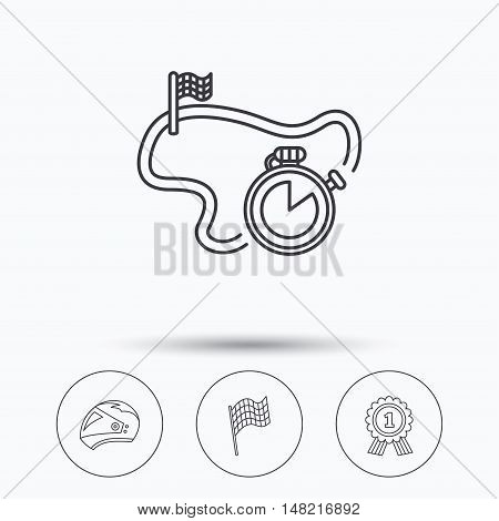 Race flag, motorcycle helmet and award medal icons. Start or finish flag linear sign. Linear icons in circle buttons. Flat web symbols. Vector