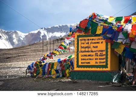 Taglangla, the second highest motorable pass in the world on the Leh to Manali highway, a high altitude pass over the great Himalayan range, Ladakh, India. poster