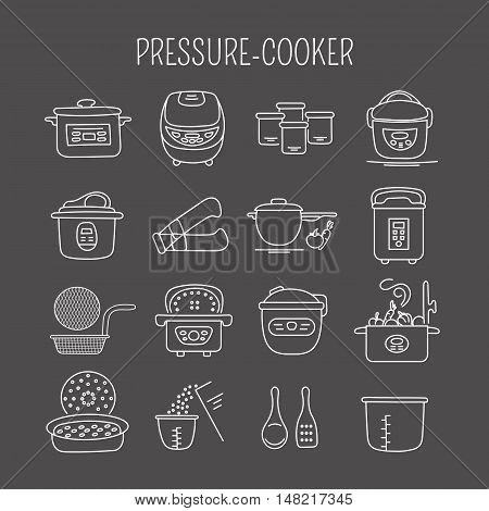 Hand drawn thin line icons set, vector illustration. Pressure cookers and accessories. Modern kitchenware. Isolated symbols. White on black pictograms. Simple mono linear design.