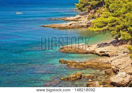 Turquoise stone beach of Brac island near Zlatni Rat Bol Dalmatia Croatia